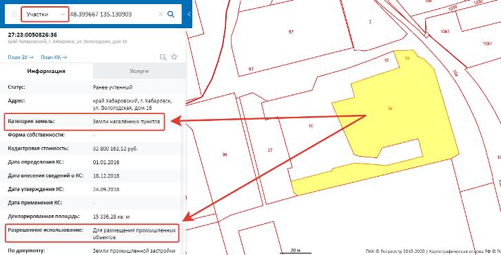 узнать категорию земель и вид разрешенного использования на ПКК